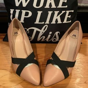 Rose Gold Pink heels with elastic black kris cross
